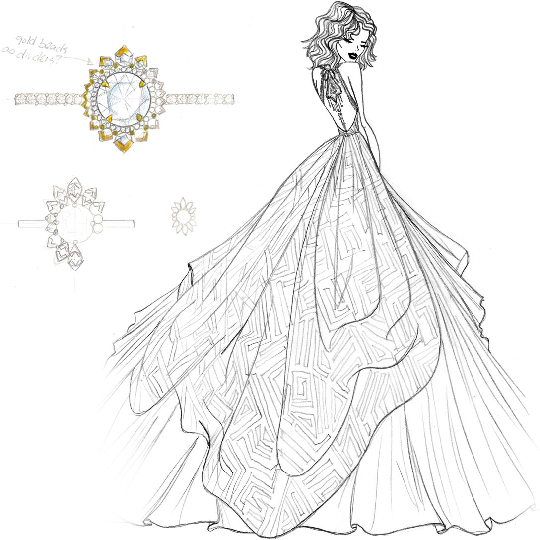 Hayley Paige Behati Dress and Ring Sketch