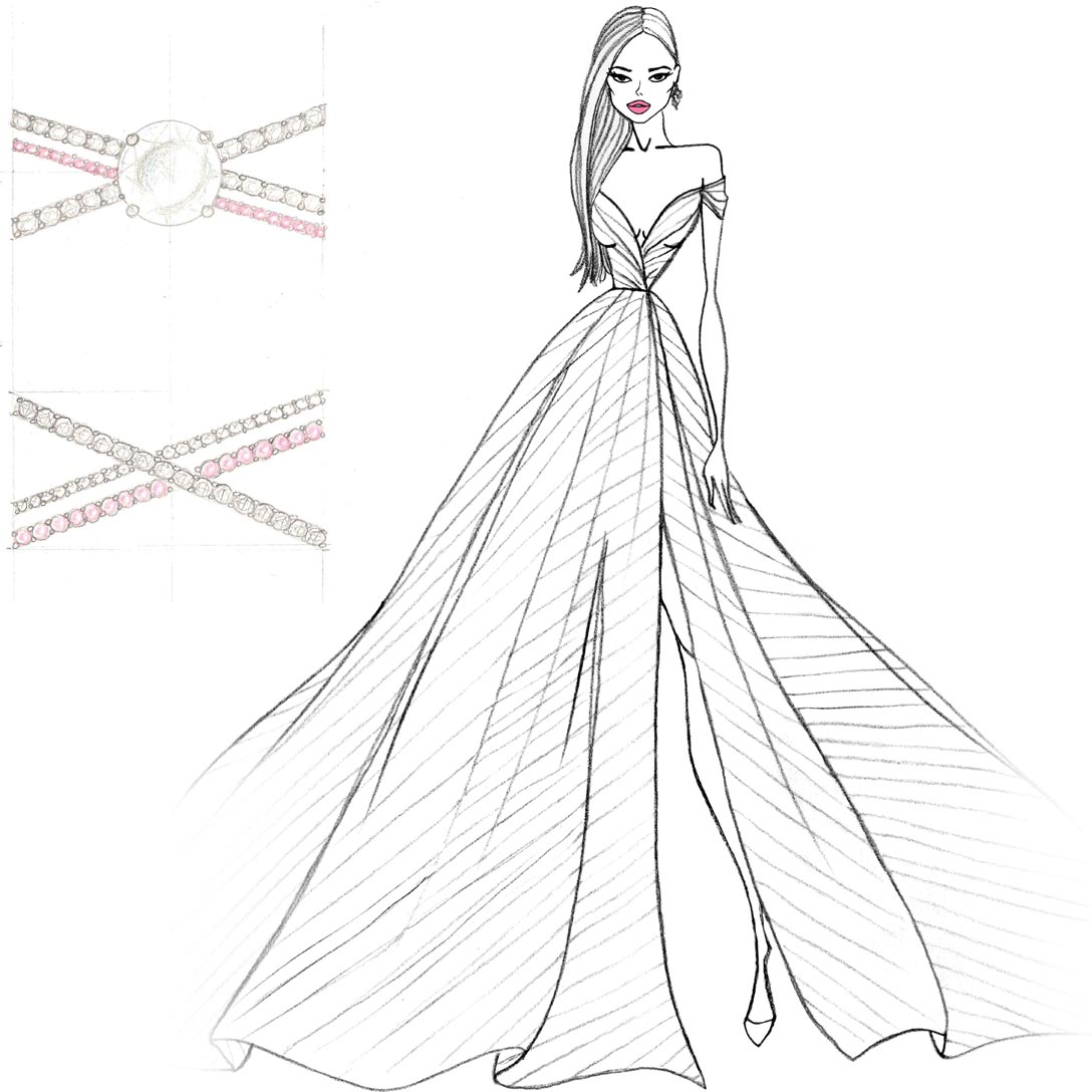 Hayley Paige Harley Dress and Ring Sketch