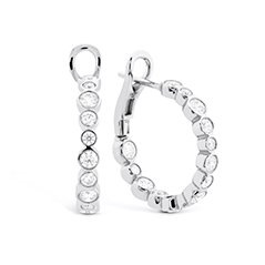 HOF Small Bezel Diamond Hoops