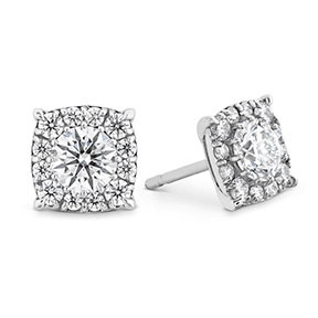 HOF Custom Halo Diamond Stud Earrings