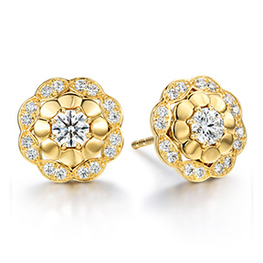 Lorelei Alternating Halo Stud Earrings